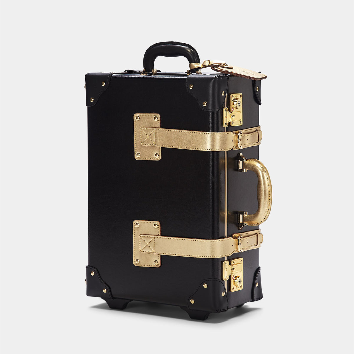 The Soprano Carryon in Black - Vintage Style Leather Case - Exterior Front