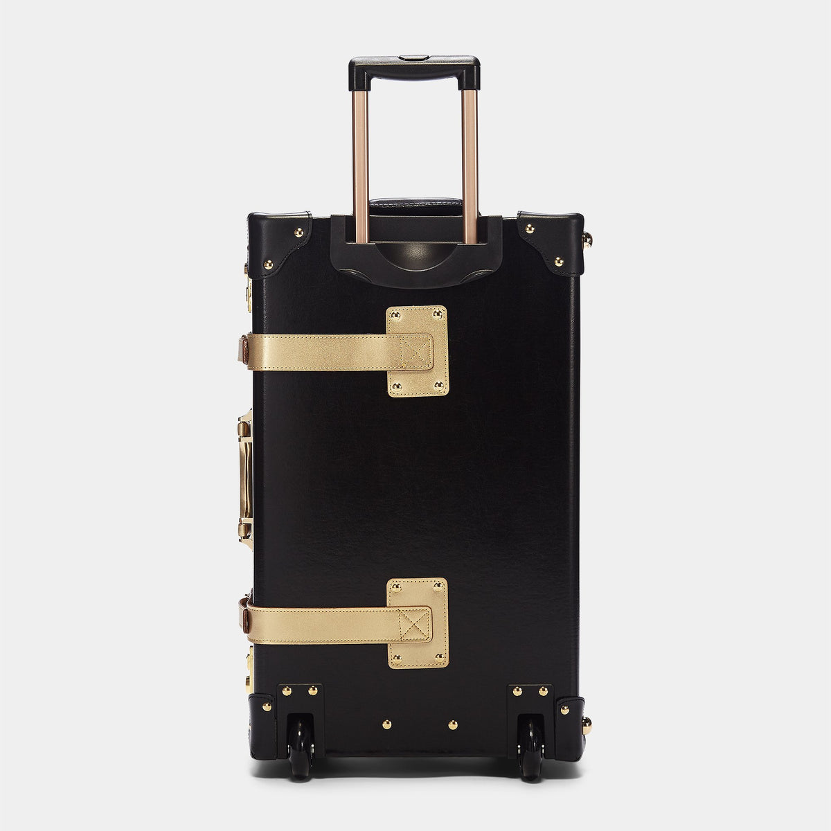 The Soprano Stowaway in Black - Vintage Style Leather Case - Exterior Back with Extendable Handles