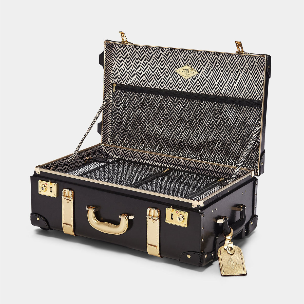 The Soprano Stowaway in Black - Vintage Style Leather Case - Interior Front