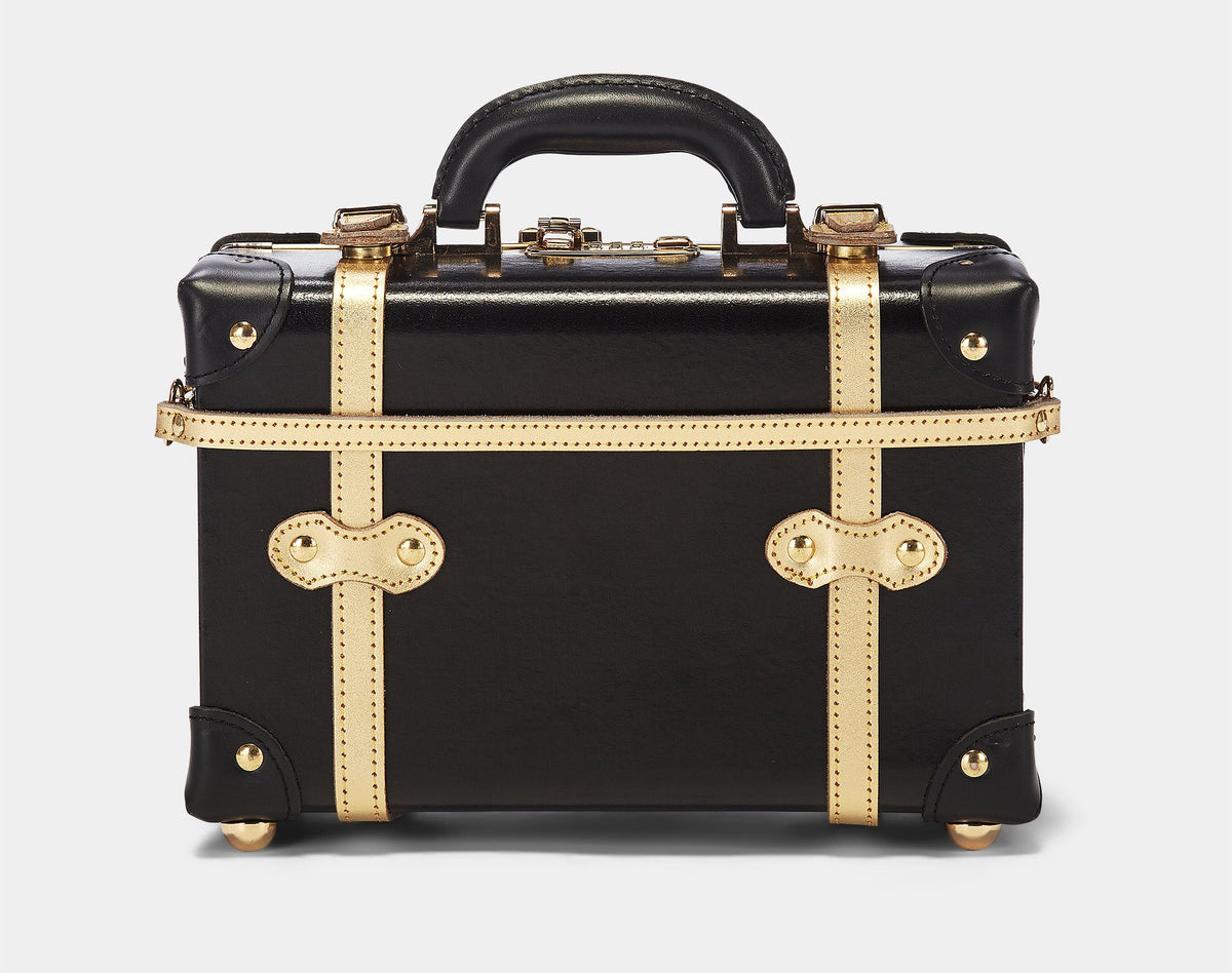 The Soprano Vanity in Black - Vintage Style Leather Case - Exterior Back with Shoulder Strap