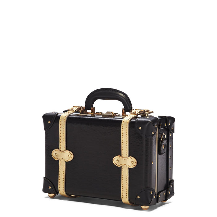 The Soprano Vanity in Black - Vintage Style Leather Case - Exterior Front