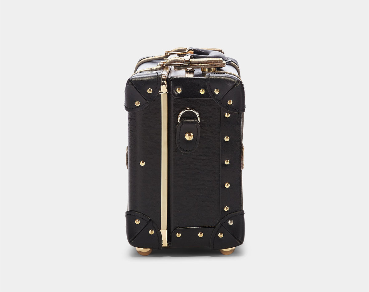 The Soprano Vanity in Black - Vintage Style Leather Case - Exterior Side