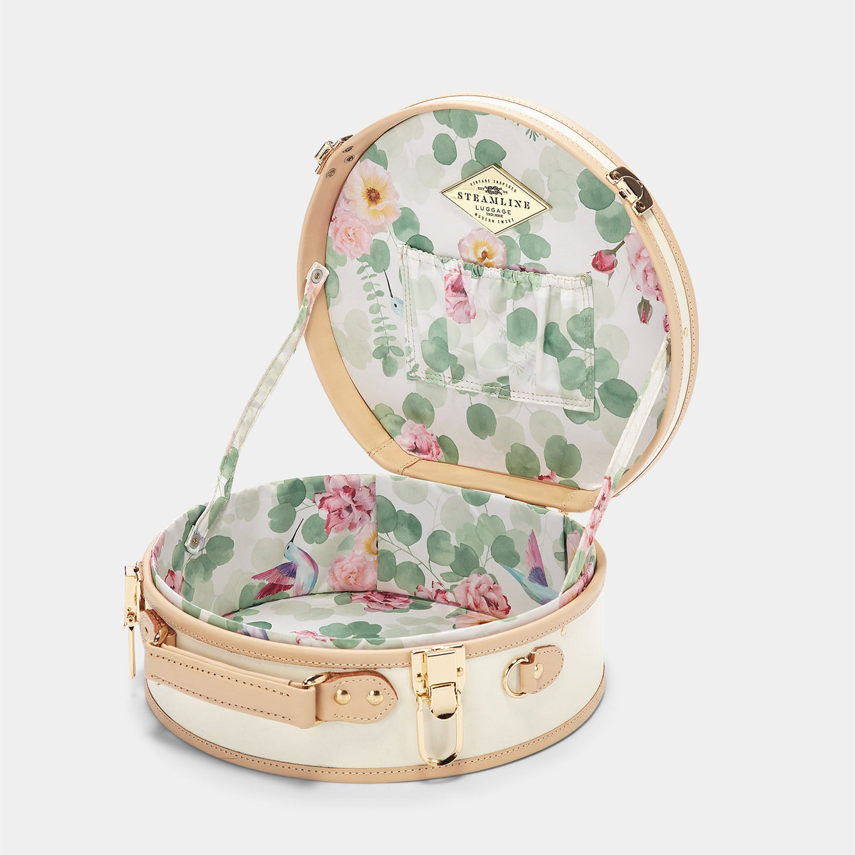 The Sweetheart Hatbox Small in White - Hat Box Luggage - Interior Front