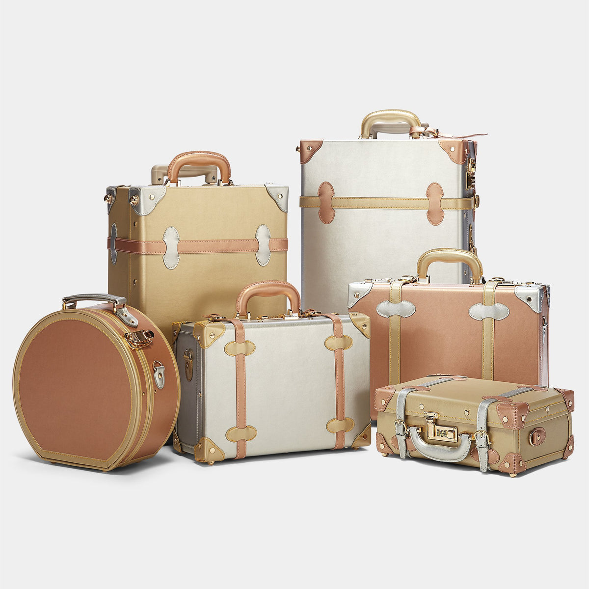 The Alchemist Small Hat Box - Hat Box Hand Luggage -  Hatbox Small with matching 5 cases side by side