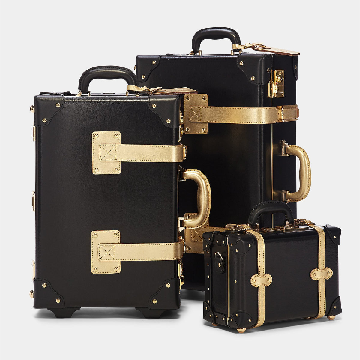 The Soprano Carryon in Black - Vintage Style Leather Case - Carryon with matching Soprano cases
