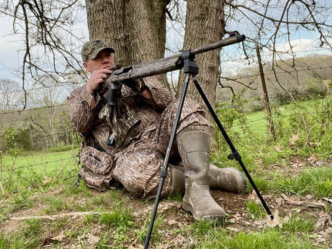 Heath Wood getting setup with his Swagger Stalker QD while turkey hunting.