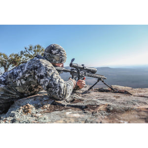 Swagger Bipod steelbanger basic in the prone position from a rocky ridge