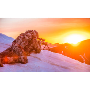 Swagger Bipod on a snowy mountain sunset