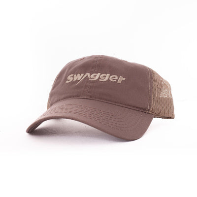 brown swagger hat with tan logo