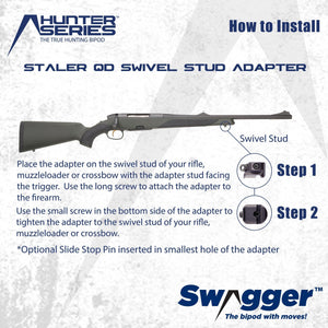 Instructions for installing the Swagger Bipod QD Swivel Stud Adapter