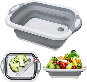 Collapsible Chopping Board and Dish Washing Tub Fruit Vegetable with Drainer
