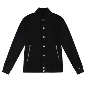 ROYAL PRESS-STUD BLACK SILVER BOMBER JACKET