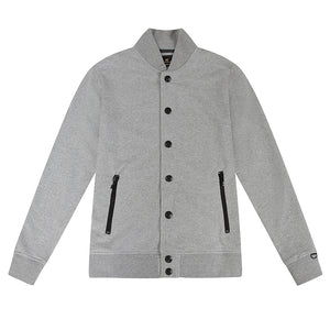 ROYAL PRESS-STUD GREY BOMBER JACKET