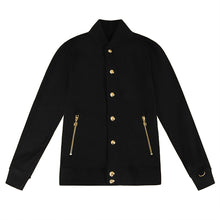 Load image into Gallery viewer, ROYAL PRESS-STUD BLACK GOLD BOMBER JACKET