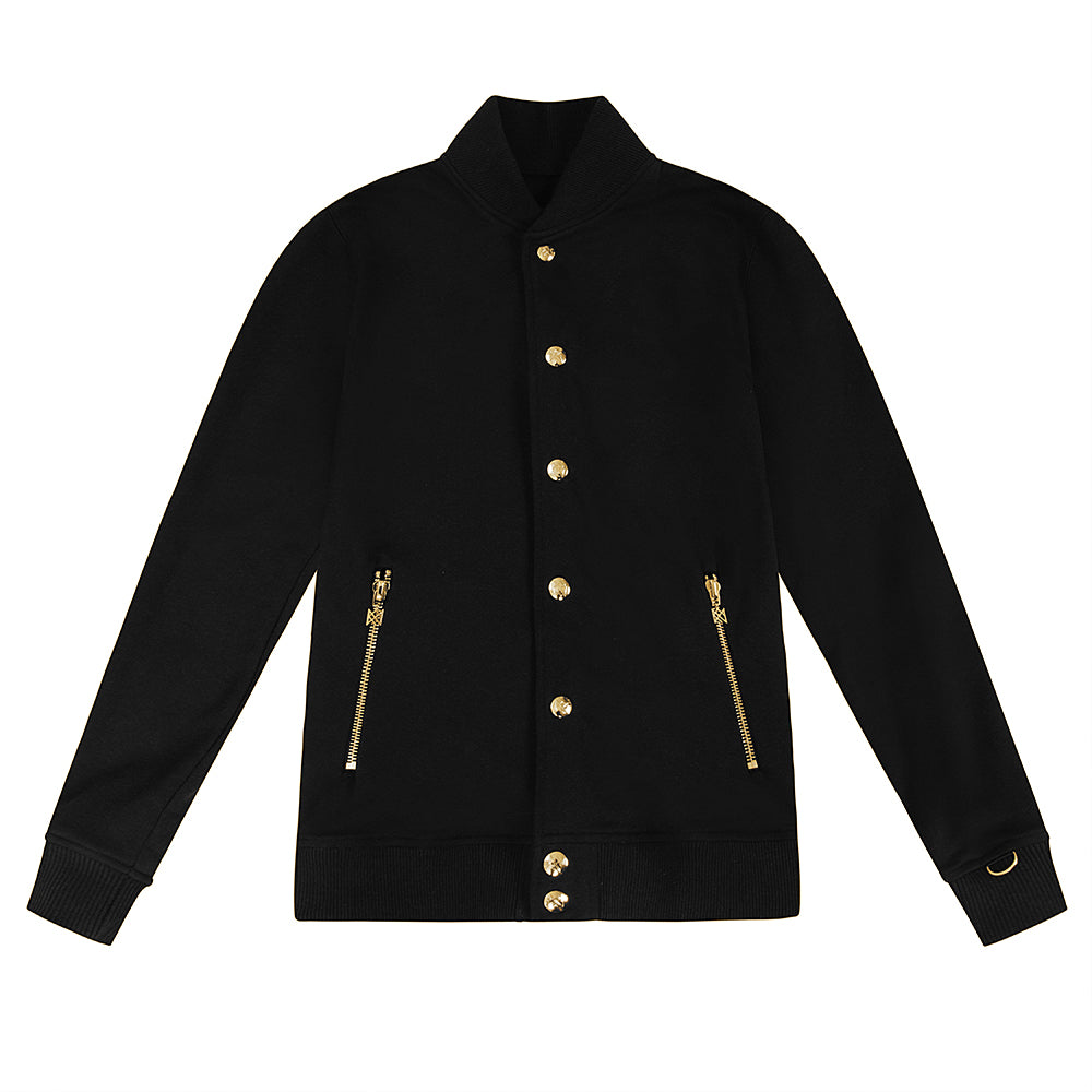 ROYAL PRESS-STUD BLACK GOLD BOMBER JACKET