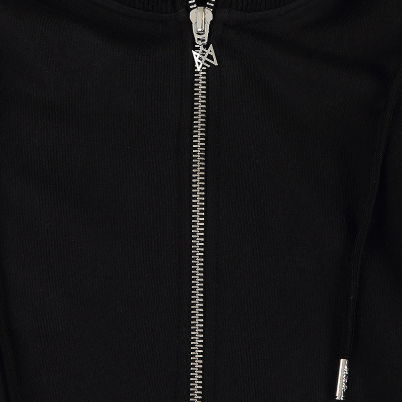 KNIGHTS SIGNATURE BLACK SILVER LONG HOODIE SWEAT COAT