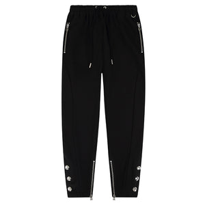 DUKE BLACK SILVER TAPERED PRESS STUD JOGGER