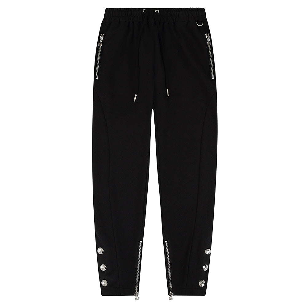 DUKE BLACK TAPERED PRESS STUD JOGGER