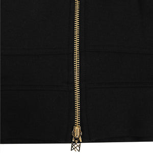 KNIGHTS SIGNATURE BLACK GOLD LONG HOODIE SWEAT COAT