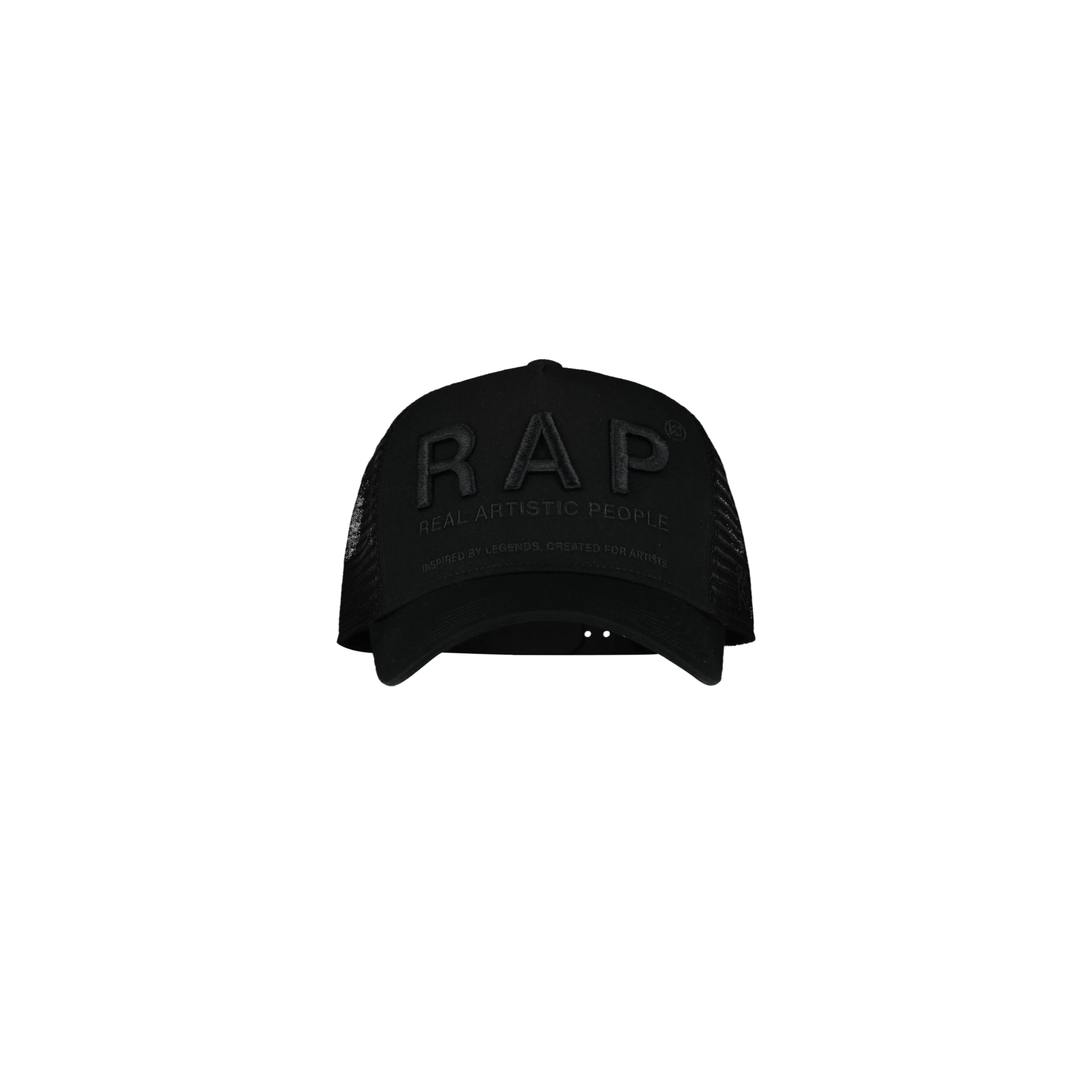 RAP TRUCKER CAP - BLACK/WHITE