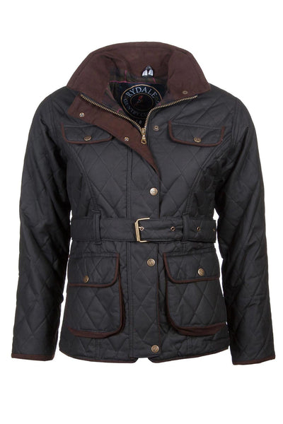 Black - Belted Diamond Quilted Waxed Cotton Jacket