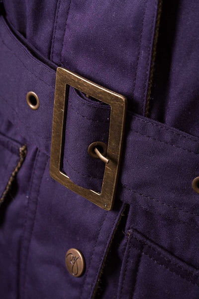 Purple - Belted Wax Biker Babe Jacket