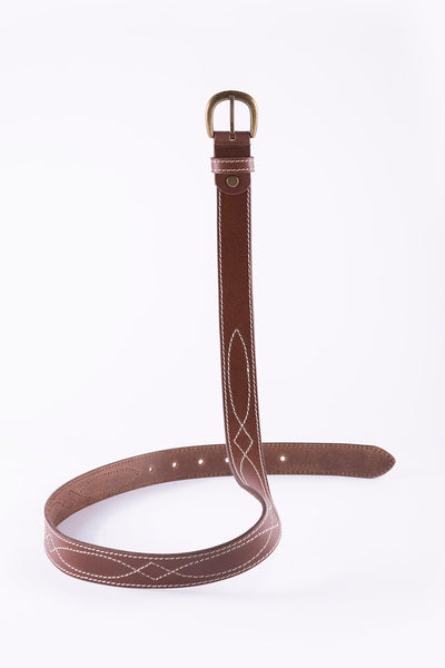 Betty Stitch Detail Leather Belt - Tan