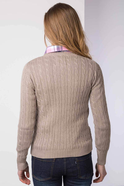 Oatmeal - Cable Knit Sweater by Rydale