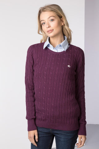 Ladies Crew Neck Cable Knit Sweater