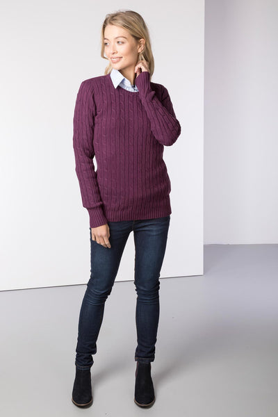 Berry - Ladies Crew Neck Cable Knit Sweater