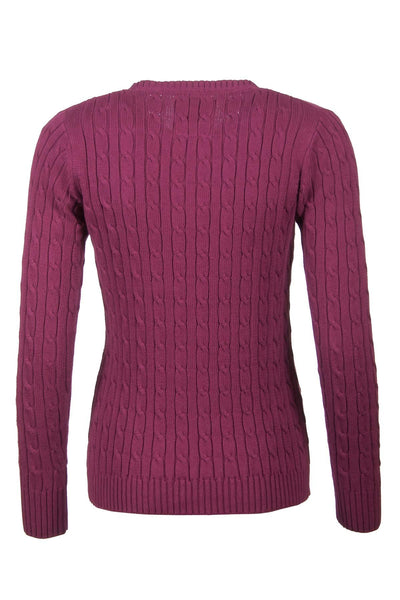 Wine - Cable Knit Sweater by Rydale