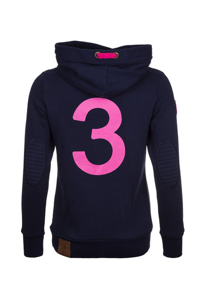 Navy - Cross Neck Hoody with Number