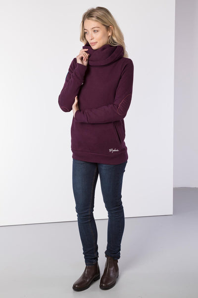 Berry - Cross Neck Hoody with Number