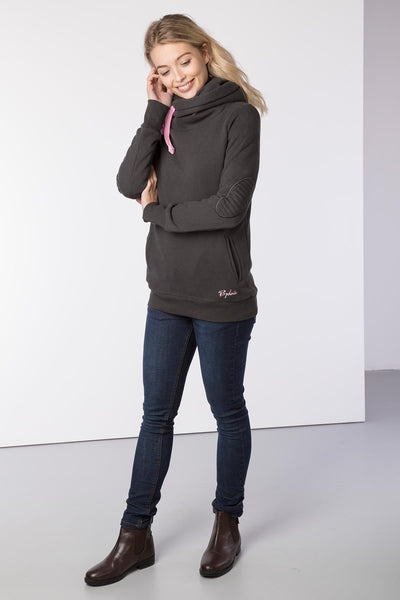 Gunmetal - Cross Neck Hoody with Number