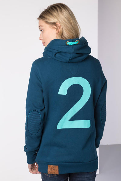 Petrol - Cross Neck Hoody with Number