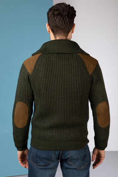 Olive - Danby 1/2 Zip Chunky Shooting Sweater