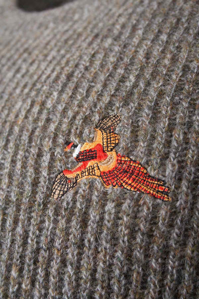 Derby Pheasant - Embroidered Motif Shooting Sweater