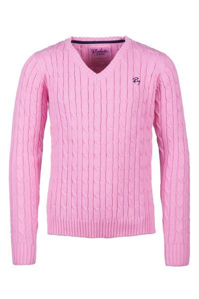 Pink - Junior Cable Knit Sweater