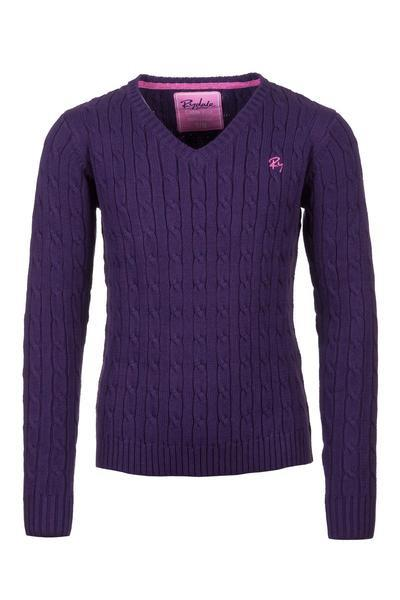 Purple - Junior Cable Knit Sweater