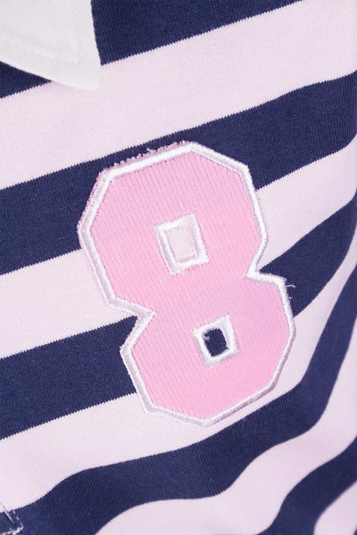 Navy/Pink Stripe - Junior Long Sleeved Rugby Shirt
