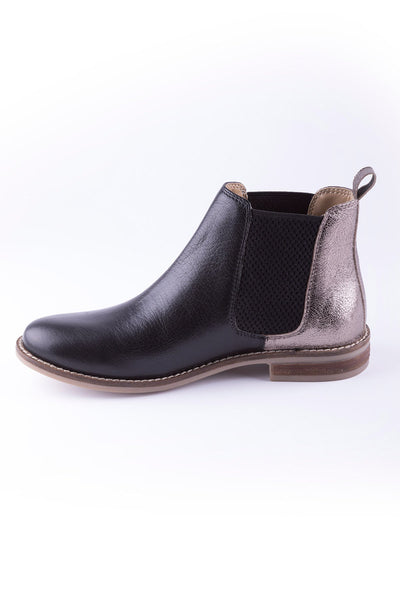 Black/Silver - Ladies Kirby Leather Boots