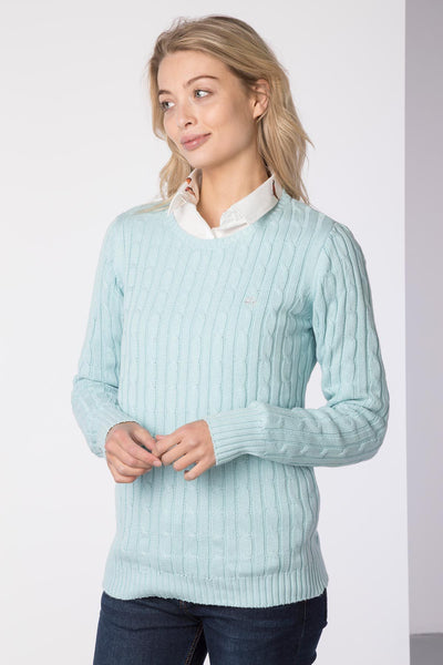 Seafoam - Ladies Crew Neck Cable Knit Sweater