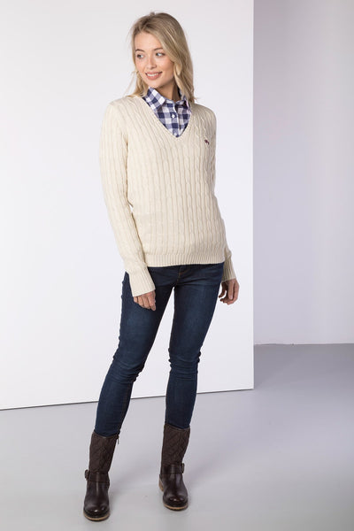 Ice Cream - Ladies V Neck Cable Knit Sweater