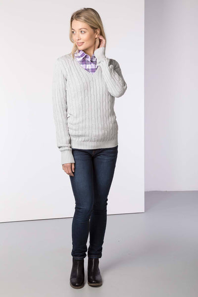 Silver - Ladies V Neck Cable Knit Sweater