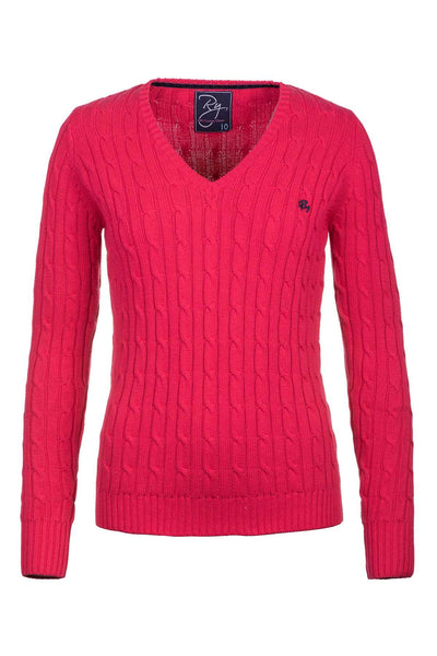 Rose - Ladies V Neck Cable Knit Sweater