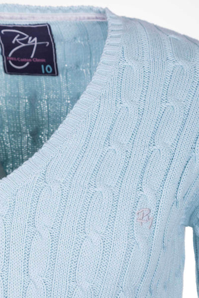 Seafoam - Ladies V Neck Cable Knit Sweater