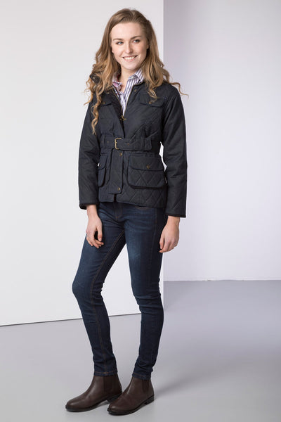 Navy - Mid Length Belted Diamond Quilt Wax Jacket