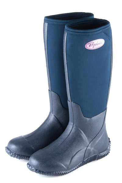 Navy - Blue Malton Neoprene Top Wellington Boots