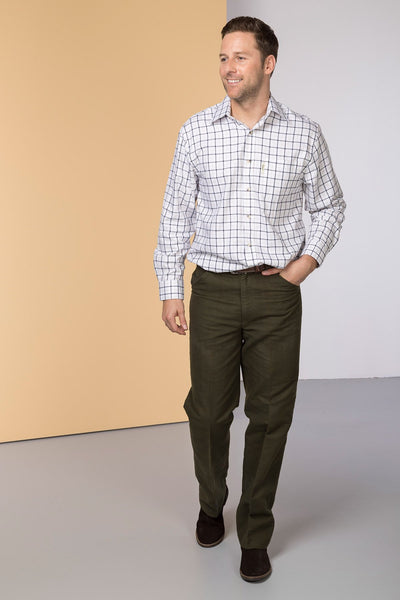 Olive - Rydale Moleskin Trousers for Men