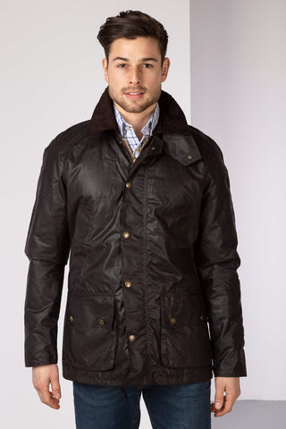 Brown - Richmond Slim Fit Waxed Cotton Jacket